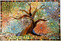 This is a giclee print of an original glass mosaic, with a limited edition of 20. It has a small border around it, which leaves space for the