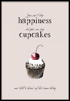 Posters med cupcakes, gullig till retrostilen.