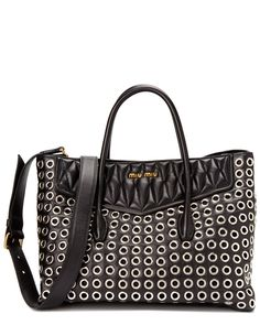 Spotted this Miu Miu Biker Grommet & Leather Large Tote on Rue La La. Shop (quickly!).