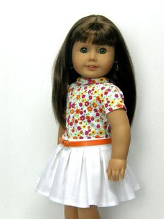 18 inch doll clothes AG doll clothes girl doll clothes floral top and white box pleat skirt