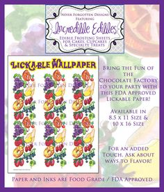 Exclusive Large 10x16 Lickable Wallpaper Design for a Willy Wonka Chocolate Factory Inspired Party