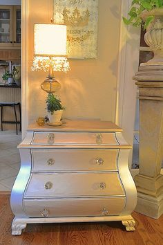 Mixing Matte Metallics and Metallic Paint from Modern Masters to create a soft, tone on tone finish on a bombay chest Two Tone Furniture, Beautiful Furniture, Metallic Painted Furniture, Painted Furniture Designs, Furniture Projects, Modern Upholstery, Redo Furniture, Round Decor, Silver Furniture