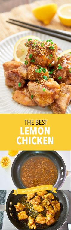 Easy delicious lemon chicken recipe, with juicy chunks of savory chicken glazed in a sweet and tangy lemon and honey sauce. #chinesefood #lemon #chicken #asian