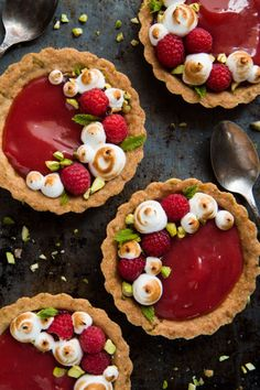 Sweet tangy Rhubarb Tarts with Pistachios & Berries