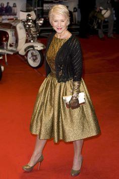 Helen Mirren Style Highs (2011) ~ London, Helen Mirren attended the premiere of Brighton Rock wearing a shiny, textured gold dress and a black knitted shrug with lace trim. She added glittery gold shoes, a gold purse, gold elbow-length gloves, and a shiny gold watch.