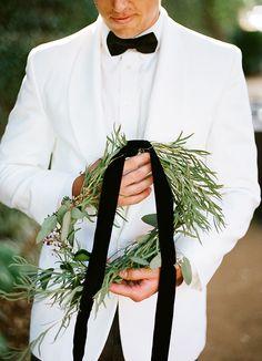 wreath, white tuxedo, black velvet ribbon