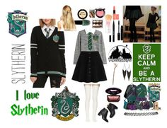 """""""SLYTHERIN"""" by katiekupkake ❤ liked on Polyvore featuring Steffen Schraut, Forum, Sacai Luck, Paul Andrew, Disney, Pluie, GUESS, Wet Seal, Stila and NYX"""