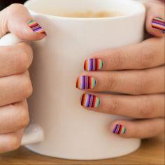 "Shop Cool ""multicolor stripes"" pattern minx nail wraps created by Virtueoffashion. Short Nail Designs, Toe Nail Designs, Nail Polish Designs, Nails Design, Gel Polish, Bright Summer Acrylic Nails, Summer Nails, Colorful Nails, Minx Nails"