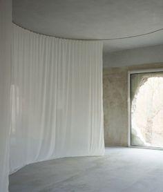 Antivilla | Potsdam, Germany | Brandlhuber + Emde, Schneider | photo © Erica Overmeer Potsdam Germany, Concrete Interiors, Concrete Forms, Minimalist Architecture, Interior Concept, Le Corbusier, Minimalism, Curtains, Inspired