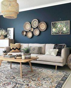 Dark Blue Living Room, Beige Living Rooms, Accent Walls In Living Room, Accent Wall Bedroom, Living Room Color Schemes, Living Room Paint, Living Room Colors, Living Room Modern, Home Living Room