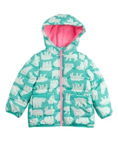 Carters Blue Polar Bear Hooded Puffer Coat - Infant, Toddler & Girls | zulily