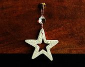 Handmade White Christmas Ornament : White Ceramic Star Ornament. $10.00, via Etsy.