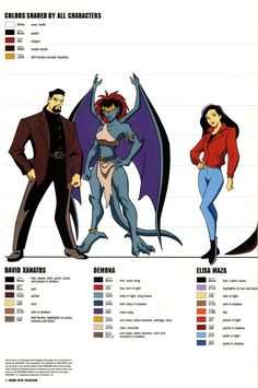 Gargoyles size and color chart - 2 by TheBarracuda on deviantART