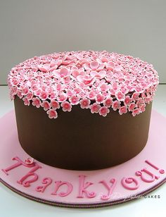 Pink and Chocolate Thank you Cake...look at all those tiny flowers. =)