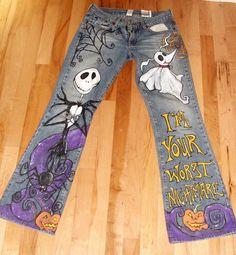Items similar to Hand Painted Custom Halloween Jack Jeans, Skirt, Pants, Dress, Jacket on Etsy Painted Jeans, Painted Clothes, Hand Painted, Halloween Jack, Halloween Costumes, Halloween Prop, Halloween Witches, Happy Halloween, Halloween Decorations