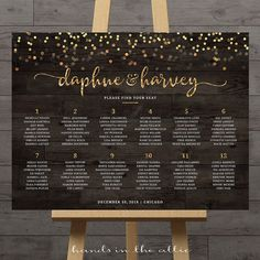 Gold confetti wedding seating chart guest list table assignment display poster large reception printable sign rustic weddings DIGITAL PDF by HandsInTheAttic