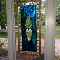 Beautiful blue streaky water glass and bevels stained glass panel
