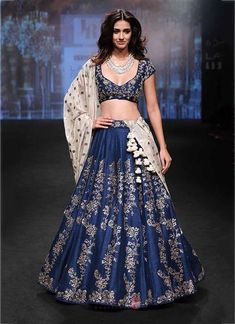 Stunning Navy Blue Silk Designer Bridal Lehenga Choli - Dial N Fashion Indian Lehenga, Indian Wedding Lehenga, Bollywood Lehenga, Bridal Lehenga Choli, Indian Wedding Outfits, Red Lehenga, Anarkali, Patiala Salwar, Quince Dresses