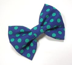Dog Bow Tie - Navy Blue and Green Polka Dots Bow Tie