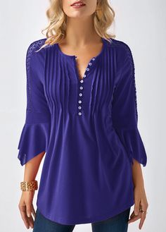 Three Quarter Sleeve Crinkle Chest Blouse on sale only US$28.74 now, buy cheap Three Quarter Sleeve Crinkle Chest Blouse at liligal.com