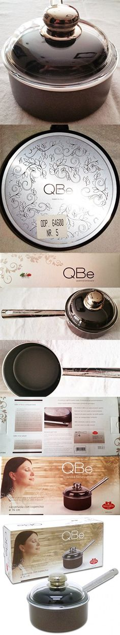 Ballarini 1.5 Quart QBe Sauce Pan with Glass Lid, Brown, Made in Italy