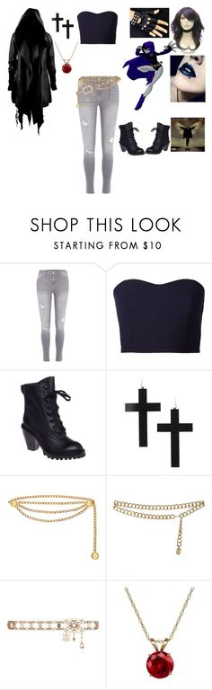 """""""Raven: Teen Titans"""" by princess-of-the-night-363 ❤ liked on Polyvore featuring мода, River Island, Julien David, Kelsi Dagger Brooklyn, Chanel, Everlasting Gold, Bakers, women's clothing, women и female"""