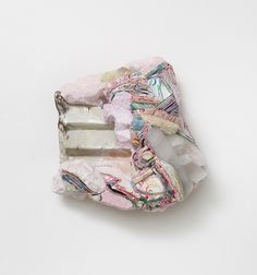 "Hilary Harnischfeger, ""Alice,"" 2012, paper, ink, plaster, ceramic, crushed glass, quartz, 10 x 10 x 4 1/2 inches, 25.4 x 25.4 x 11.4 cm"