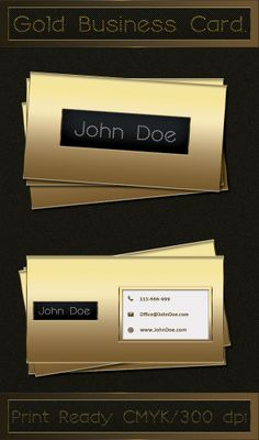 Print ready luxury gold business card template, available for free download in PSD format.