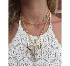 DRESS FOR LESS UNEASY RIDER COW SKULL NECKLACE GOLD $58 NOW AVAILABLE AT SPLASH AND ONLINE AT WWW.SPLASHTRIBE.COM