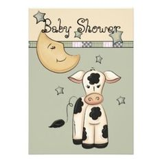 Vintage cow and moon baby shower invitations includes an idea for matching cookies. #cowbabyshower