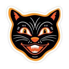 Retro Halloween, Vintage Halloween Images, Halloween Items, Halloween Stickers, Cat Stickers, Halloween Cat, Holidays Halloween, Beistle Halloween, Halloween Labels