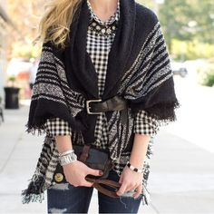 How to wear a blanket scarf - Fall Outfit Inspiration - CS Gems Blog - www.csgemsjewelry.com