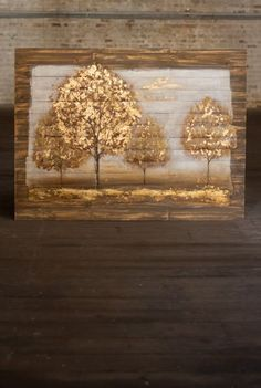 """Four Trees On Wooden Slats Oil Painting 47""""x35""""  #fourtrees #woodenslatart #oilpainting #rusticart"""