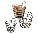 Round Wire Basket, 9x6.5-in, Black