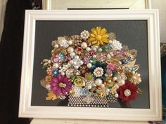 Vintage Jewelry Art Framed Not Christmas Tree Floral ** Think SPRING: