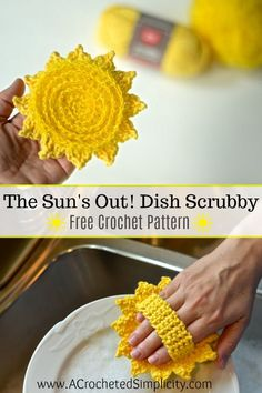 The Sun's Out! Dish Scrubby – Free Crochet Pattern – Patricia Payne The Sun's Out! Dish Scrubby – Free Crochet Pattern Free Crochet Pattern – The Sun's Out! Dish Scrubby by A Crocheted Simplicity Crochet Puff Flower, Crochet Flower Patterns, Crochet Stitches Patterns, Crochet Designs, Crochet Flowers, Crochet Ideas, Crochet Projects, Crochet Craft Fair, Crochet Leaves