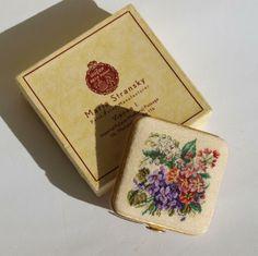 Art Deco powder compact in micro petit point by Maria Stransky, Wien, Austria