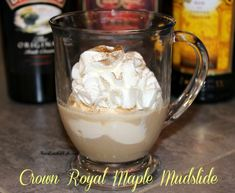 Crown Royal Maple Mudslide By Ann This Mudslide offers a slight twist from the traditional mudslide recipe. The Crown Royal Maple Finished adds a sweet, maple taste. Dessert Drinks, Party Drinks, Cocktail Drinks, Fun Drinks, Yummy Drinks, Cocktails, Cocktail Ideas, Martinis, Kahlua Drinks