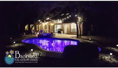 Pool party - day or night! Pool Backyard, Backyard Ideas, Leisure Pools, Free Pool, Pool Contractors, Pool Companies, Fiberglass Pools, Backyard Furniture, Texas Homes