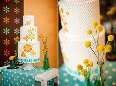 wedding cake yellow and orange #retroweddings #1950sweddings #vintageweddings