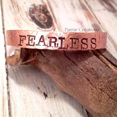 FEARLESS Hand Stamped Copper Cuff Bracelet for by FarrarCreations, $26.00