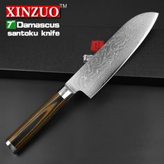 "XINZUO 7"" inch Japanese chef knife Damascus steel kitchen knives sharp japanese VG10 santoku knife wood handle free shipping"