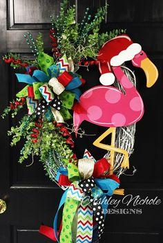 Flamingo Christmas Wreath