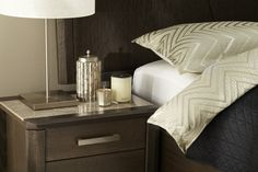 The Maitland bedroom suite features unique marble top bedsides for a luxe finish. Pictured: Maitland Two Drawer Bedside Table.