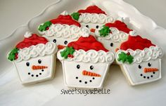 Snowmen cookies made from Cupcake shaped cutter!  CUTE!