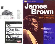 James Brown Tour Pass, Ticket & Laminated Flyer 2000 UK memorabilia PASS, TICKET & FLYER: JAMES BROWN Tour Pass Ticket & Laminated Flyer…