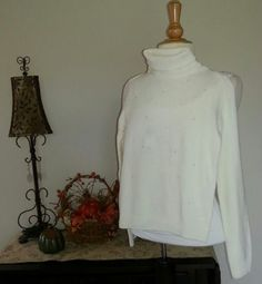 NWT-The-Childrens-Place-Girls-Ivory-Bedazzled-Turtleneck-SZ-L-10-12-LS
