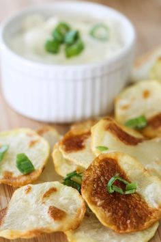 Baked Potato Chips with Sour Cream and Chive Dip