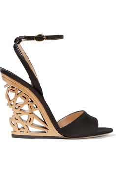Paul Andrew Kismet cut-out satin wedge sandals