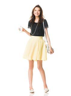 【着まわしday15】レースブラウス×イエローフレアースカート | ファッション コーディネート | with online on ウーマンエキサイト